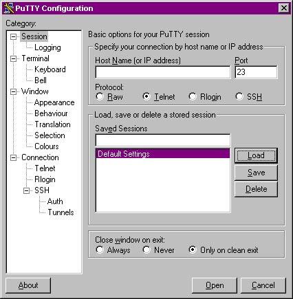 Windows:ssh:PuTTY Configuration